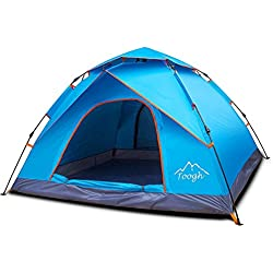 Toogh 3-4 Person Camping Tent 4 Seasons Waterproof Backpack Tents Sun Dome Automatic Pop-Up Outdoor Sports Tent
