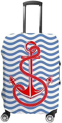 スーツケースカバー トラベルケース 荷物カバー 弾性素材 傷を防ぐ ほこりや汚れを防ぐ 個性 出張 男性と女性波背景、パターンアンカー