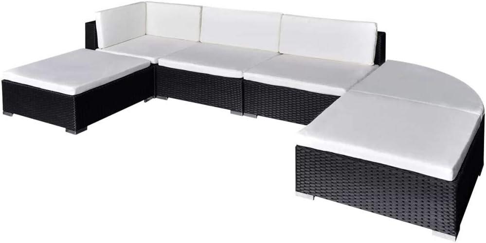 mewmewcat Patio Garden Furniture Sofa Set Corner Seat Stools 16 Pcs Poly Rattan Black and Cream White