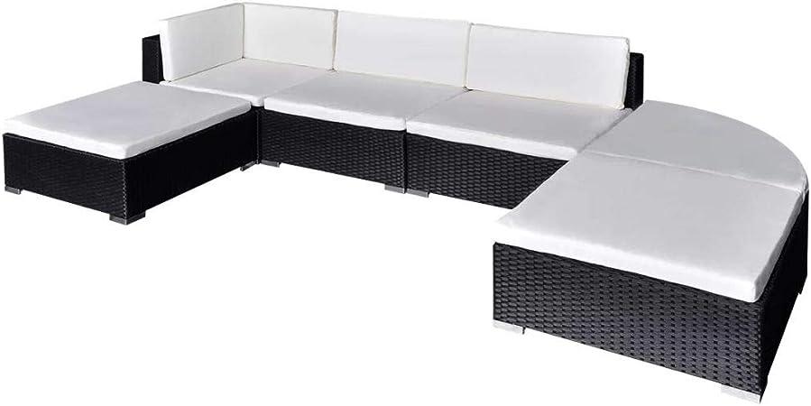 Tidyard Conjunto Muebles de Jardín 16 Piezas,Sofa Exterior para Jardín Balcón Patio Piscina Terraza,Cojines Extraíbles,Poli Ratán Negro(Combinable de Diferentes Formas): Amazon.es: Hogar
