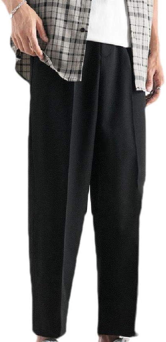 Tootess メンズスモックウエストソリッドカラードレープポケットカジュアルワークズボンパンツ