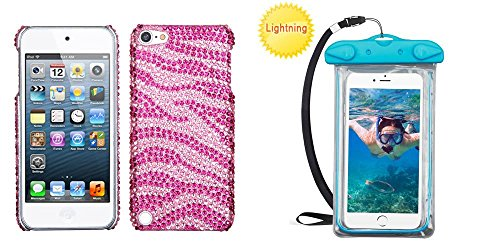 (Combo pack Zebra Skin (Pink/Hot Pink) Diamante Back Protector Cover for APPLE iPod touch (5th generation) APPLE iPod touch (6th generation) And Universal Blue Lightning Waterproof Pouch (with Lanyard))