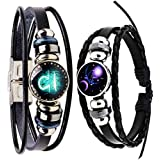 Newless 2 Pcs Retro 12 Zodiac Constellation Beaded Hand Woven Leather Bracelet (Libra)