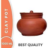 PALVIT CLAY ART GALLERY (P.C.A.G) 1000ml Clay Dahi Handi/Dal Handi/Mitti Handi/Curd Bowl with Lid (Mathani Handi 1000ml, Brown)