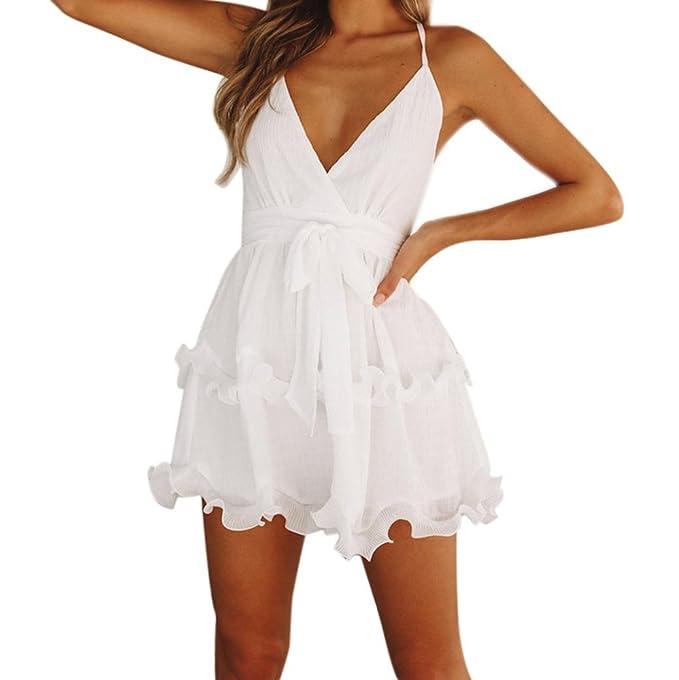 Vestidos Tirantes Con Volantes Mujer Vestidos De Cuello En V Con Cordones Vestidos Blancos Cortos De