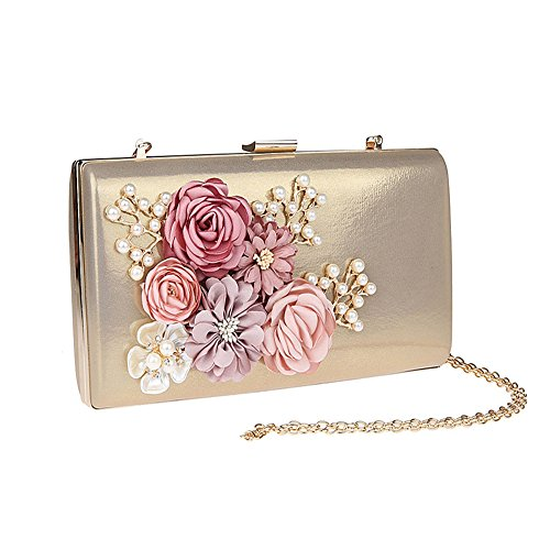 Women's Party Bride For Bags Envelope Gold Beaded Evening Satin Ladies Bag Prom Chain Handbag Eleoption Pearl Flower Evening Wedding Purse Clutch pdapqS