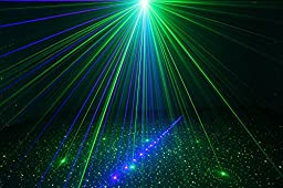 SUNY Professional 3 Lens 18 Gobos Effect Red Green Laser Blue LED Professional Projector Sound Active Remote-Controlled Stage Light for DJ Disco Family Party Home Decorative Stage Light Z18GB