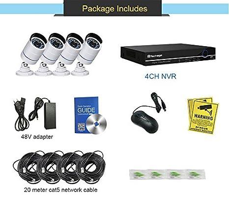 techage Full HD 1080p PoE sistema de cámara de seguridad CCTV 4 ch NVR 2400tvl 2.0 MP IP cámara exterior/interior impermeable seguridad Kit de vigilancia de ...
