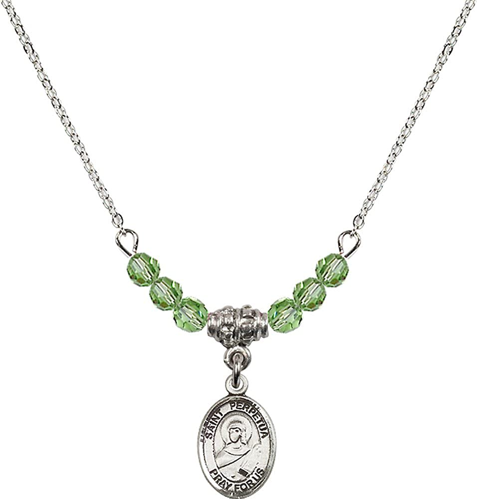 18-Inch Rhodium Plated Necklace with 4mm Peridot Birthstone Beads and Sterling Silver Saint Perpetua Charm.
