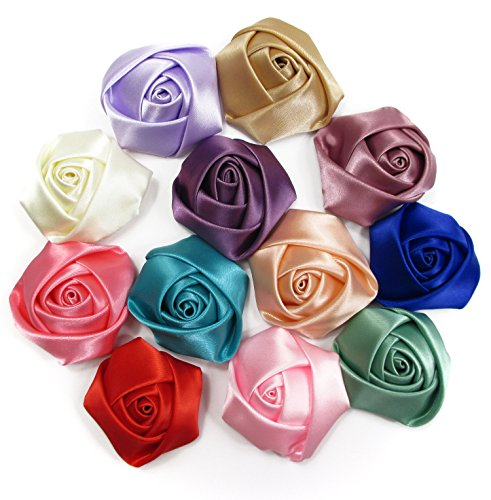 "Satin Flower Embellishments (ALL in ONE 12pcs 50mm (2"") Rosettes Satin Rose Fabric Flowers Hair Bow Appliques For DIY Headbands Embellishments Wedding Craft)"