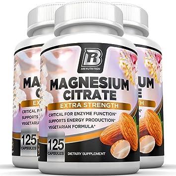 Magnesium Citrate - 125 Count 500 mg per Veggie Capsules - 3 Pack