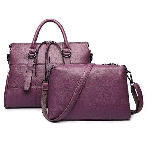 WLFHM Mujeres Bolsos Europa Bordado Bolsas Grandes Otoño/Invierno Costura Dos Piezas Bolsos De Hombro Purple