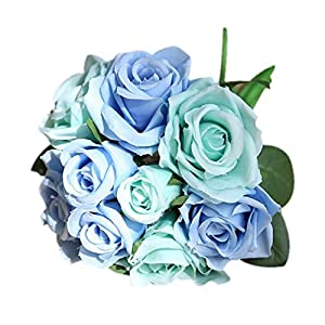 YuShang Artificial Flowers FakeFlowers Silk Artificial Roses 9 Heads Plastic Ranunculus Asiaticus Wedding Bouquet Flower (Blue) 57