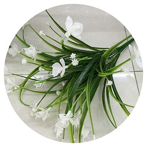 - 1 Bunch 21 Heads Artificial Flowers with Leaf Wedding Decoration Simulation Phalaenopsis Flower Home DIY Valentine's Day Decor,White