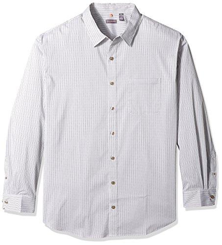 (Van Heusen Men's Size Big and Tall Traveler Stretch Long Sleeve Button Down Black/Khaki/Grey Shirt, Cumulus, 3X-Large)
