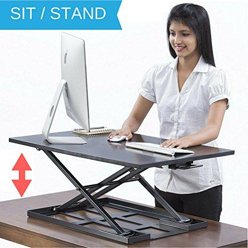 Set Workstation Wide (Standing Desk - Height Adjustable Ergonomic Stand Up Desk Converter Desktop Workstation - 32 X 22 Inch Sit Stand Riser for a Dual Monitor Setup - Table Jack)