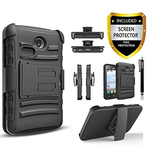 LG Sunrise Case, LG Lucky Case, LG L15G, LG L16C Combo Rugged Shell Cover Holster with Built-in Kickstand and Holster Locking Belt Clip Black + Circle(TM) Stylus Touch Screen Pen And Screen Protector