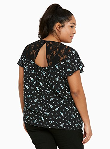 Floral Print Lace Inset Flutter Sleeves Top