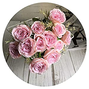 Delicate Roses Bunch Silk Artificial Flowers Rose artificielle Spring Home Wedding Decoration Flores artificiales,Bean Pink 9