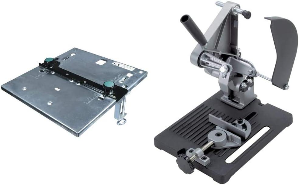 Wolfcraft 6197000 6197000-1 Mesa de Sierra de calar + 5019000 - Soporte para Cortar para Amoladora Angular diam. 115 y 125 mm, 1 W