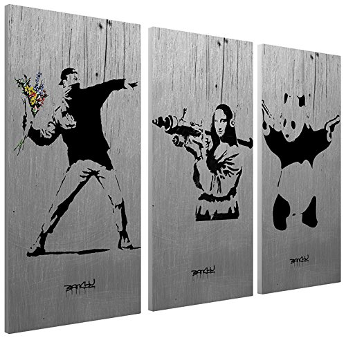 (Pingo World 0127QDN7CTG Collage Flower Thrower, Mona Lisa, Panda Gallery Wrapped Canvas Triptych Art 48