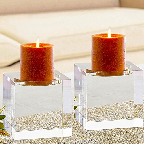 Candle Crystal Holder Pillar (Amazing Home Huge Crystal Pillar Candle Holders 4