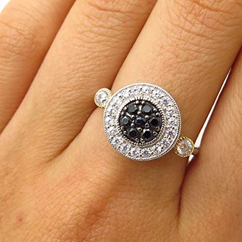 - Signed 925 Sterling Silver/Gold 14K Black & White C Z Ring Size 8 Jewelry by Wholesale Charms