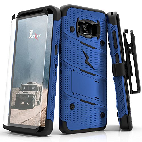 Zizo Bolt Series Compatible with Samsung Galaxy S8 Plus Case Military Grade Drop Tested with Tempered Glass Screen Protector Holster Blue Black
