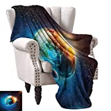 WinfreyDecor Outer Space Blanket Sheets Planet Earth in Sun Rays Elements Astronomy Atmosphere Sky Satellite Moon Image Cozy for Couch Sofa Bed Beach Travel 54' Wx72 L Red Blue