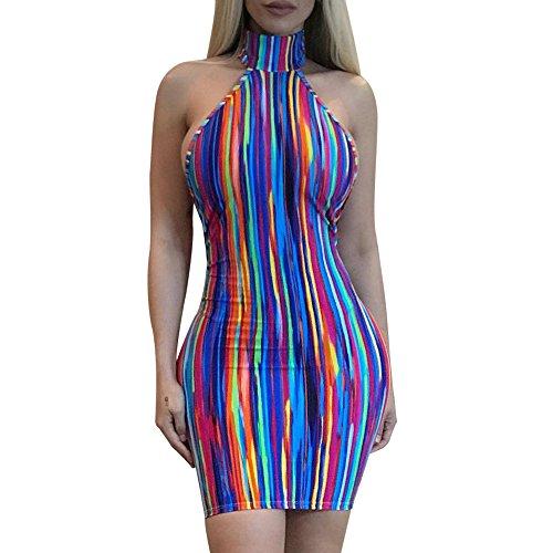 Club Costume Dress - Sexy Women Floral Dress Sleeveless Deep V Neck Print Clubwear Party Bodycon Dress (Blue, L)