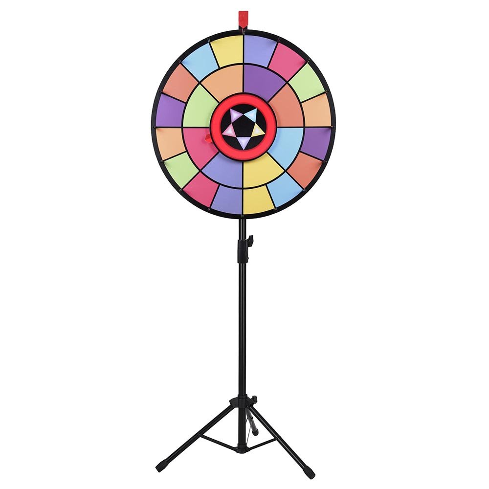 WinSpin 24'' Floor Stand Editable Color Prize Wheel 2 Circles 2 Pointers Spinning Game Tradeshow Carnival