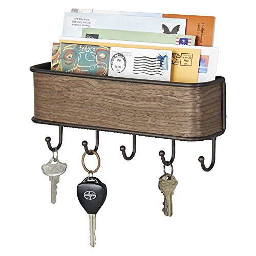 mDesign Mail, Letter Holder, Key Rack Organizer for Entryway, Kitchen - Wall Mount, Bronze/Walnut Finish