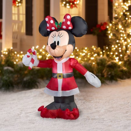 Gemmy 5 Foot Tall Minnie Mouse Inflatable Yard Decoration (Red/Green)