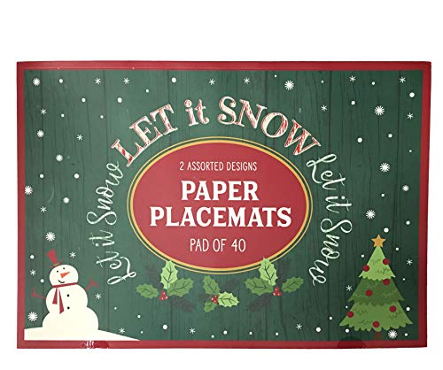 Christmas Printed Paper Plates and Napkins Disposable Tableware Set (Paper Placemats, Snow Globe)
