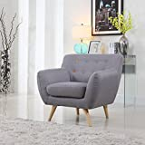 Mid Century Modern Style Sofa / Love Seat Red, Grey, Yellow, Blue - 1 Seat, 2 Seat, 3 Seat (Grey w/ Assorted Colored Buttons, 1 Seater)
