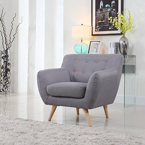Mid Century Modern Style Sofa / Love Seat Red, Grey, Yellow, Blue - 1 Seat, 2 Seat, 3 Seat (Grey w/ Assorted Colored Buttons, 1 Seater) by Divano Roma Furniture