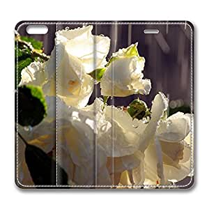 iPhone 6 Leather Case, Personalized Protective Flip Case Cover White Roses In The Rain for New iPhone 6