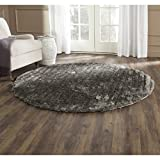 Safavieh SG554C-6R 3D Shag Collection Handmade Silver Round Area Rug, 6-Feet in Diameter