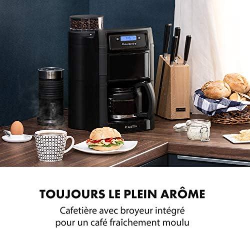 Klarstein Aromatica II Cafetière avec moulin - cafetière filtre, 1000W, verseuse en verre 1,25L, Timer 24h, plaque chauffante, filtre au charbon actif, noir