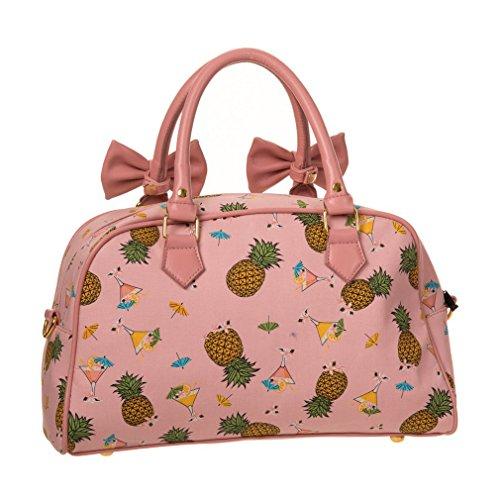 Vietato Damen Rockabilly Tasche Hawaii - Ananas Sogni Vintage Henkeltasche