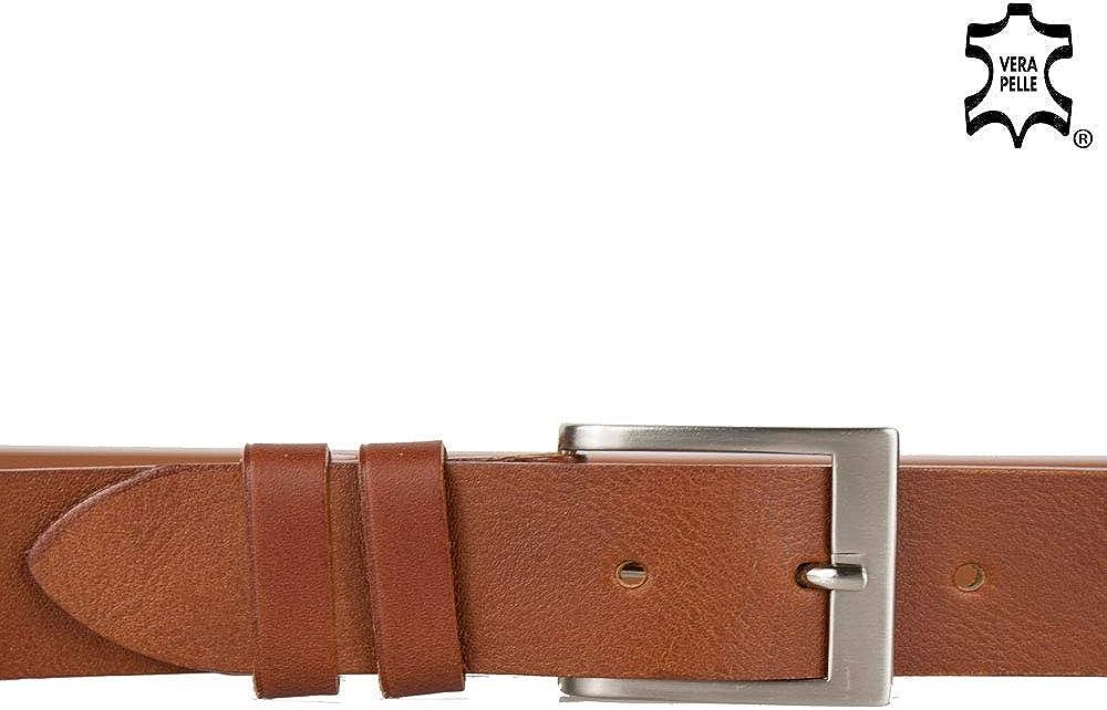 Emila Cintura uomo pelle cinta ragazzo in vero cuoio artigianale semplice sportiva casual per jeans pantaloni abiti da 3,5 cm 35mm con fibbia made in italy belt casual classica in Vera Pelle