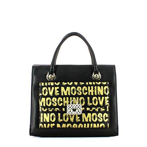 Borse a Mano Love Moschino Donna Poliuretanica Nero, Oro e Platino JC4065PP12LH0000 Nero 13x23x30 cm