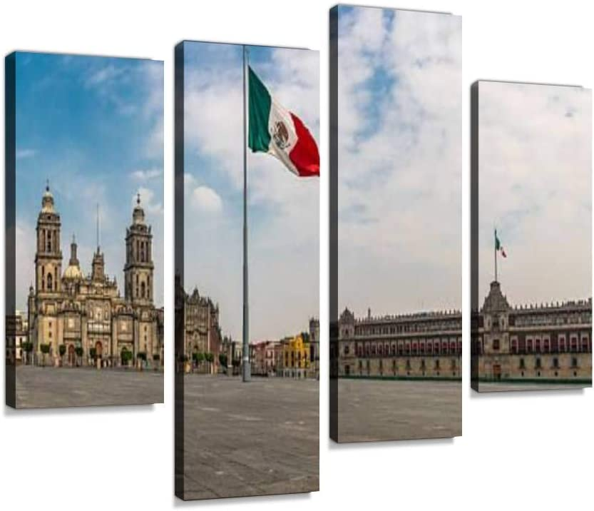 Canvas Wall Art Painting Pictures Panoramic View of Zocalo and Cathedral Mexico City, Mexico Modern Artwork Framed Posters for Living Room Ready to Hang Home Decor 4PANEL