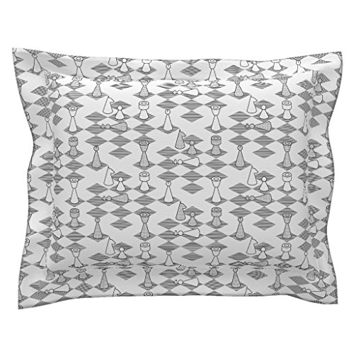 Bishops Sateen Cotton - Roostery Toile Euro Flanged Pillow Sham Murder On The Chess-Board by Sef Natural Cotton Sateen Made