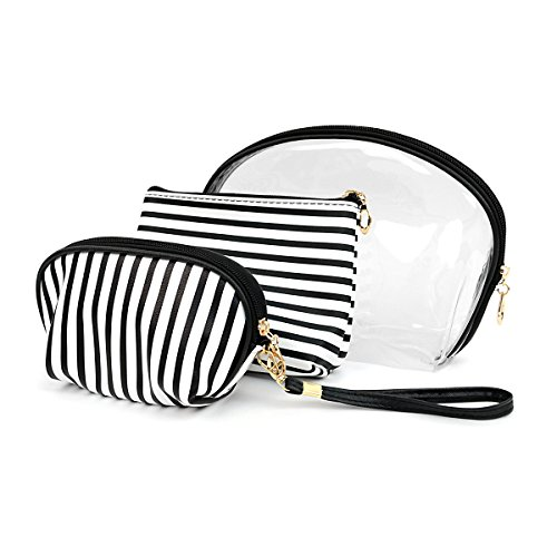 Make Up Bag Cosmetic Travel Case Set of 3 Black & White Stripe with Attached Mirror (Cosmetic Bag Set Of 3)
