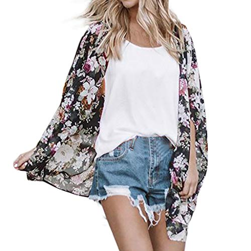 FORUU Cardigans For Womens, Ladies Floral Printed Loose Short Half Sleeve Chiffon Kimono Tops Blouses 2019 On Sale Office Elegant Summer Best Gift For Wife Business Work Casual Sexy ()
