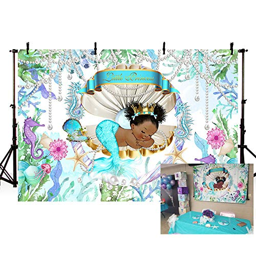 MEHOFOTO Mermaid Theme Little Princess Baby Shower Photo Backgrounds Under The Sea Pearl Shell Girl Birthday Party Banner Backdrops for Photography 7x5ft ()