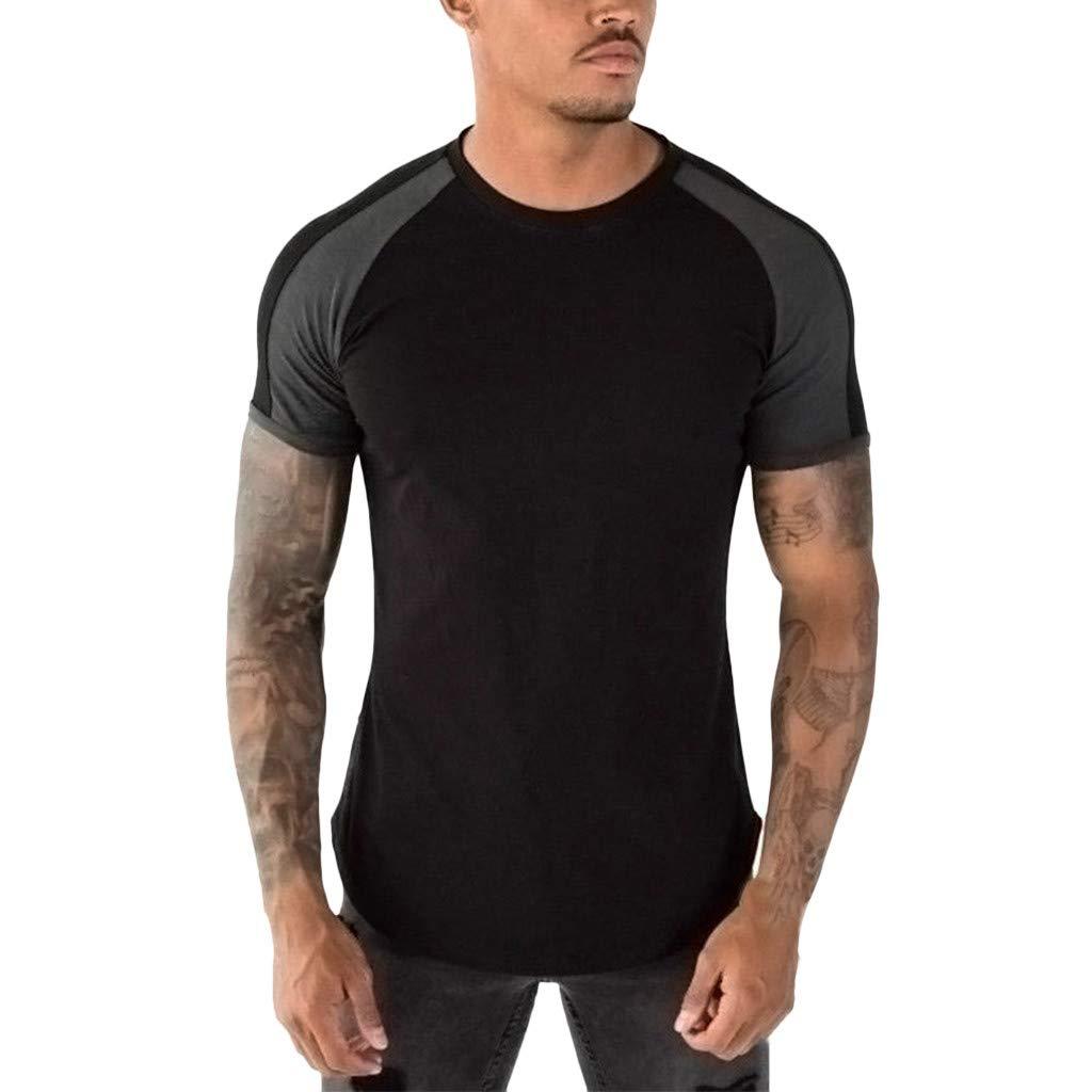 Men's Summer Slim Fit T-Shirt Summer Patchwork Short Sleeved Casual Top Blouse (M, Black)