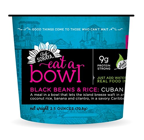 Chef Soraya Plant Based, Vegan, Cuban Black Beans & Rice, 2.5 oz bowl, 6 pack