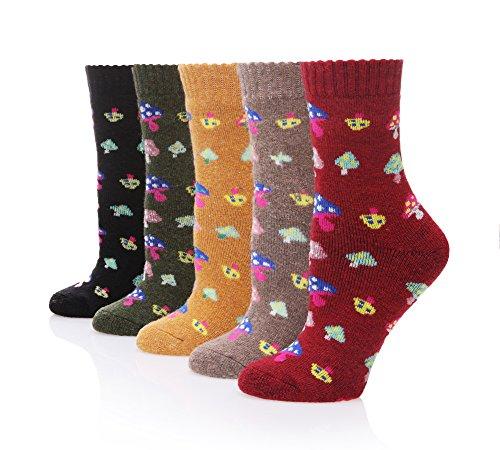 Velice Women's Winter Wool Warm Thickened Crew Socks 5 Pair (Mushroom)